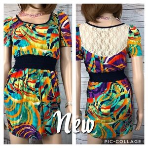 Solemio Abstract Print Mini Dress Size Med #0471